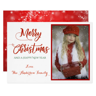 Red Sparkle Merry Christmas Photo Card
