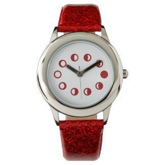 Red Sparkle Moon Phases Wrist Watch