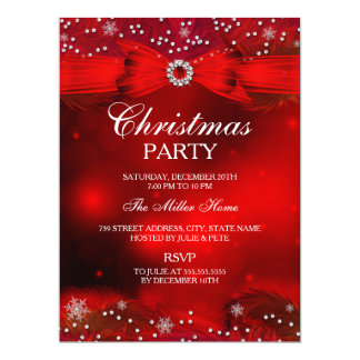 Red Sparkle Snowflake & Bow Christmas Party Invite