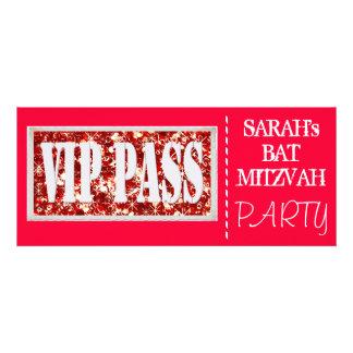 Red sparkle VIP Bat Mitzvah party Invite