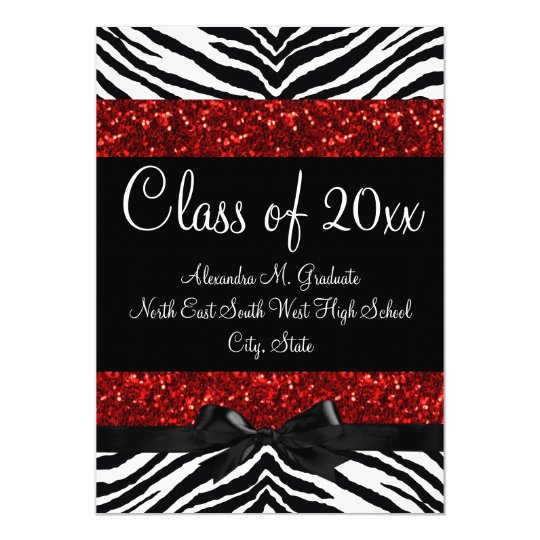 Red Sparkle Zebra Bow Graduation Card