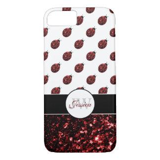Red sparkles Ladybug Monogram iPhone 7 case