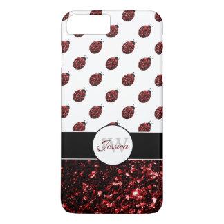 Red sparkles Ladybug Monogram iPhone 7 plus case