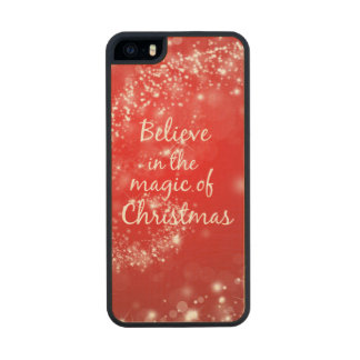Red Sparkles with Christmas Magic Quote Wood Phone Case For iPhone SE/5/5s
