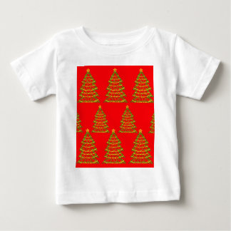 Red sparkling Christmas trees Baby T-Shirt