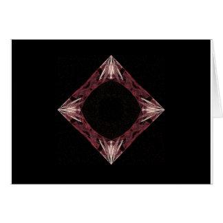 Red Sparkling Diamond Fractal Art Card