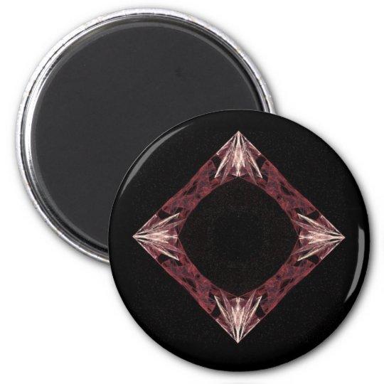 Red Sparkling Diamond Fractal Art Magnet