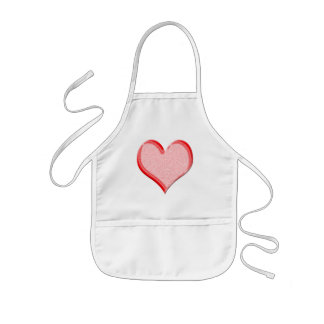 Red Speckled Valentine Heart Shape Kids' Apron