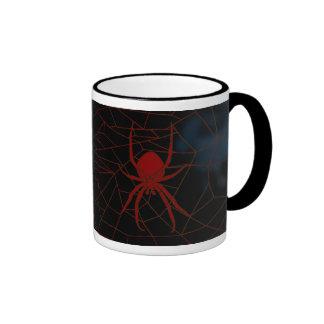 Red spidder in web, webbing ringer coffee mug