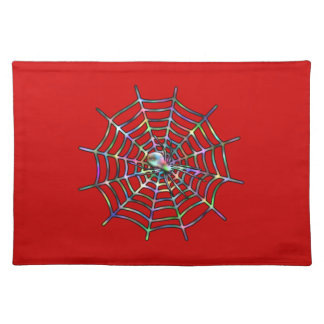 Red Spider and Spider Web Halloween Cloth Placemat