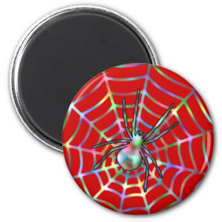 Red Spider and Spider Web Halloween Magnet
