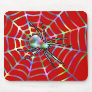 Red Spider and Spider Web Halloween Mouse Pad
