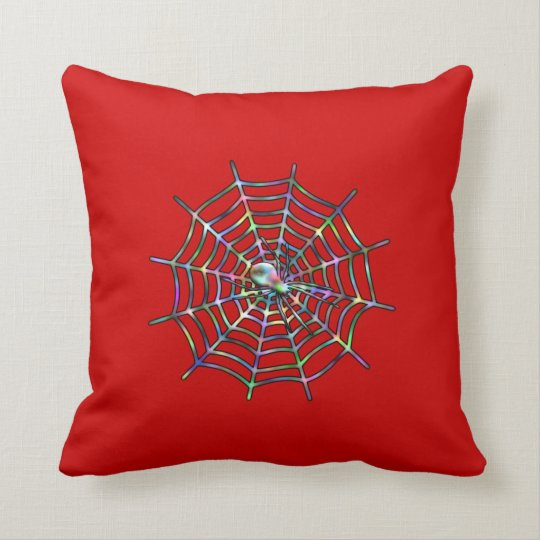 Red Spider and Spider Web Halloween Throw Pillow