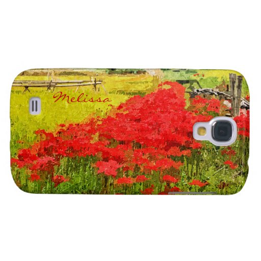 Red Spider Lilies Vivid Rice Field Rural Painterly Galaxy S4 Case