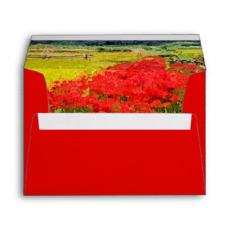 Red Spider Lilies Vivid Rice Field Rural Painterly Envelopes