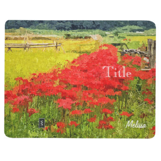 Red Spider Lilies Vivid Rice Field Rural Painterly Journal