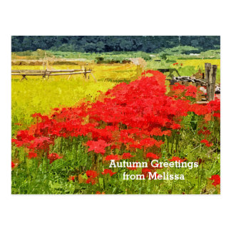 Red Spider Lilies Vivid Rice Field Rural Painterly Post Card
