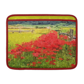 Red Spider Lilies Vivid Rice Field Rural Painterly Sleeve For MacBook Air