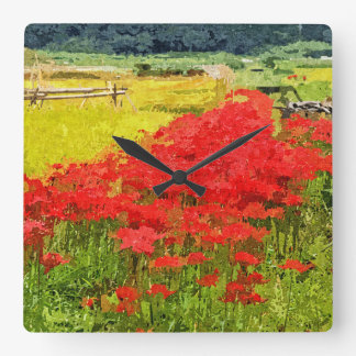 Red Spider Lilies Vivid Rice Field Rural Painterly Square Wall Clock