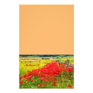 Red Spider Lilies Vivid Rice Field Rural Painterly Stationery