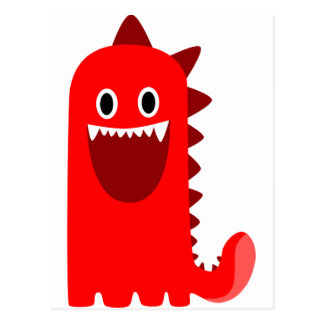 Red Spikey Monster Postcard