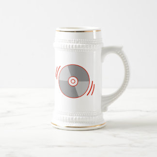 Red Spinning CD Beer Stein