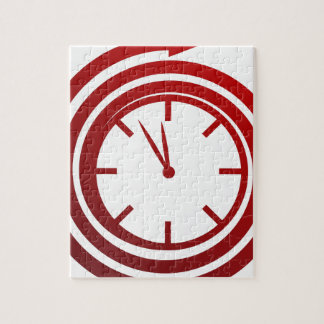 Red Spiral Arrow Spinning Clock Icon Puzzle