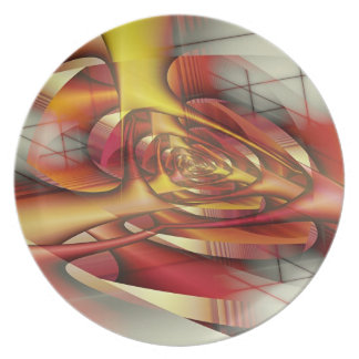 Red spiral dinner plate