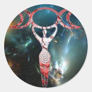 red spiral goddess classic round sticker