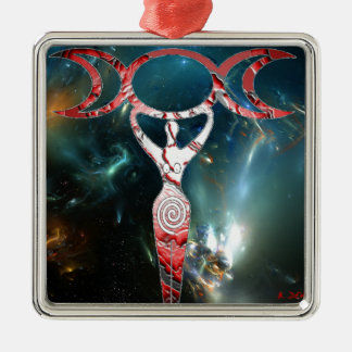 red spiral goddess square metal christmas ornament