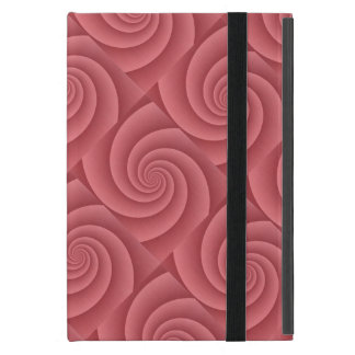 Red Spiral in brushed metal texture iPad Mini Covers
