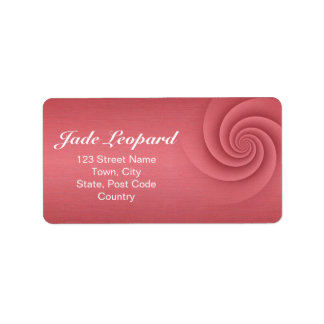 Red Spiral in brushed metal texture Custom Address Labels
