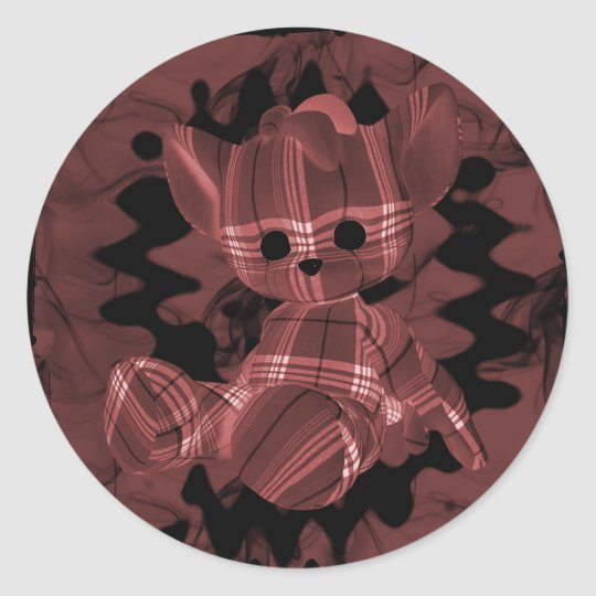 Red Spiral Smoke Teddy Bear Classic Round Sticker