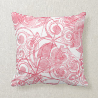 Red Spirals and Stars Background Throw Pillow