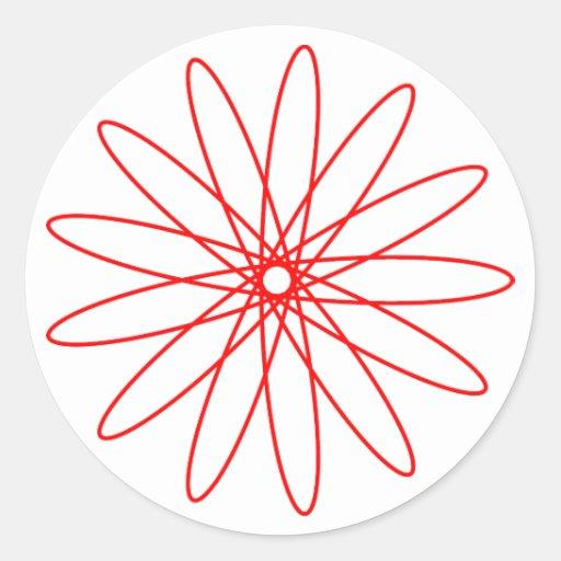 Red Spirograph Classic Round Sticker