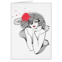 artsprojekt, diva, red, black, contemporay, glamour, line, splash, exotic, woman, female, ink, drawing, beauty, fashion, illustration, intensity, minimalist, portrait, minimalism, white, chic, girl, Card with custom graphic design
