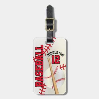 Red Sport Baseball | DIY Text Bag Tag