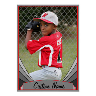 Red Sports & Athletics Custom Name & Photo Poster