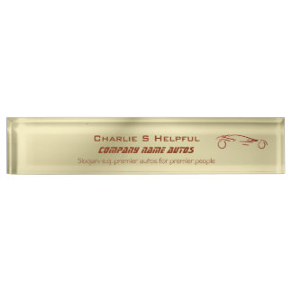 Red Sports Auto on gold effect - auto sales Desk Name Plate
