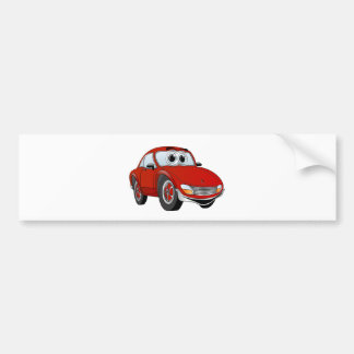 Red Sports Car Cartoon Bumper Sticker