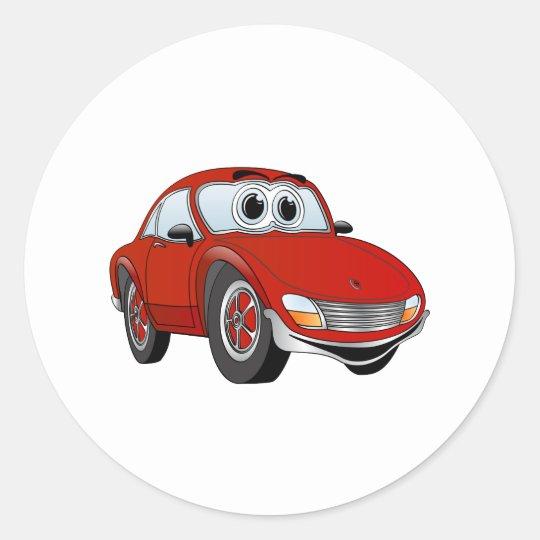 Red Sports Car Cartoon Classic Round Sticker