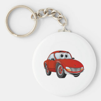 Red Sports Car Cartoon Basic Round Button Keychain
