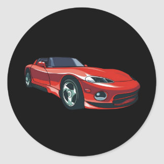 Red Sports Car Classic Round Sticker