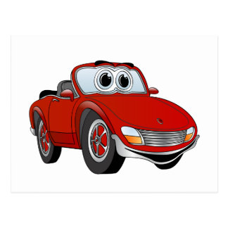 Red Sports Car Convertible Cartoon Postcards