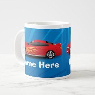 Red Sports Car Flames Boys 20 Oz Large Ceramic Coffee Mug