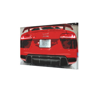Red Sports Car in a Garage, Simple Design Canvas