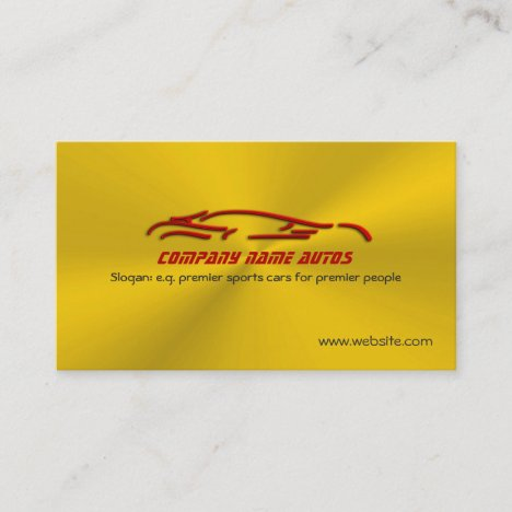 Red sports car logo on gold burst effect business card