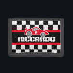 """Red sports car name / age wallet<br><div class=""""desc"""">Encourage saving with this racing blue car wallet,  personalize with your own short name or nickname and add your child&#39;s age or favorite number to the side of the car. Currently reads Riccardo 6. Uniquely designed by Sarah Trett.</div>"""