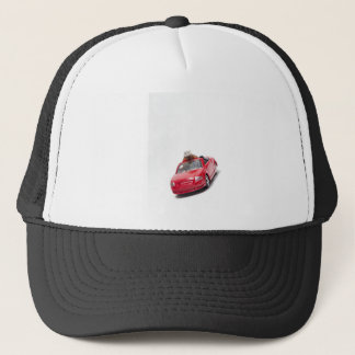 red sports car with a diamond ring trucker hat