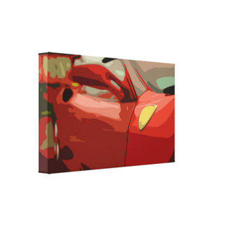 Red Sports Car with a Golden Emblem on the Side Canvas Print